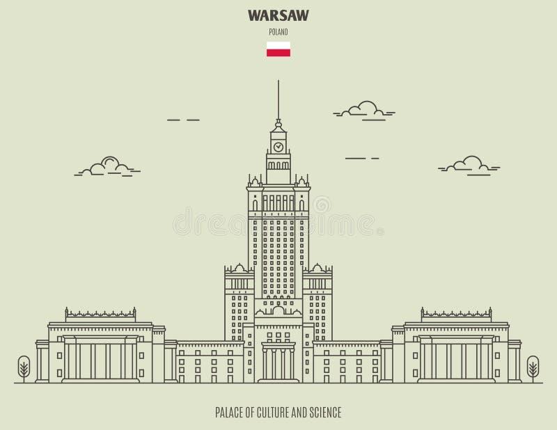 Palácio da cultura e do Sciencel em Varsóvia, Polônia Ícone do marco ilustração do vetor