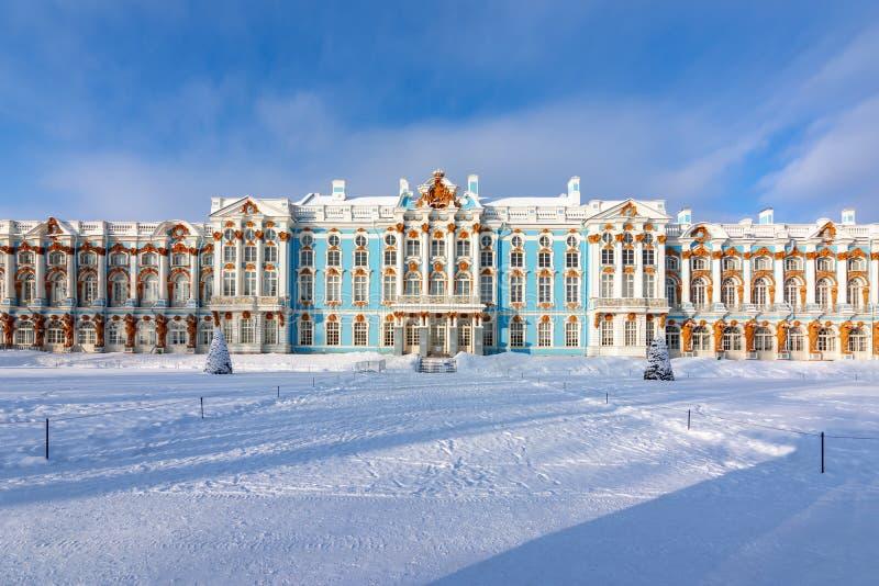 Palácio de Catherine no inverno, Tsarskoe Selo Pushkin, St Petersburg, Rússia foto de stock