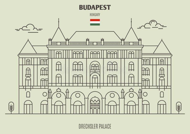 Palácio de Drexhsler em Budapest, Hungria Ícone do marco ilustração royalty free