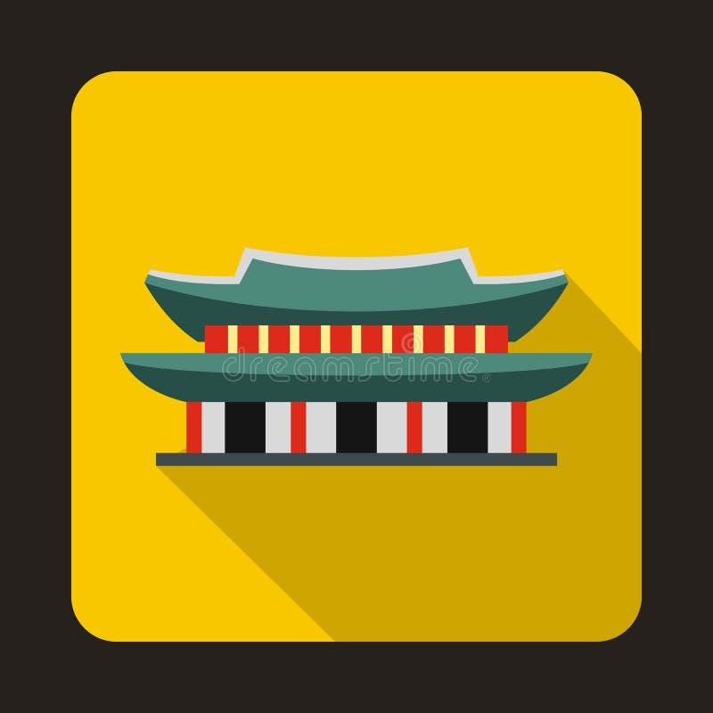 Palácio de Gyeongbokgung ícone em Seoul, Coreia ilustração royalty free