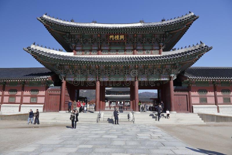 Palácio de Gyeongbokgung, Grand Place Seoul, Coreia do Sul, Ásia - tiro novembro de 2013 imagem de stock