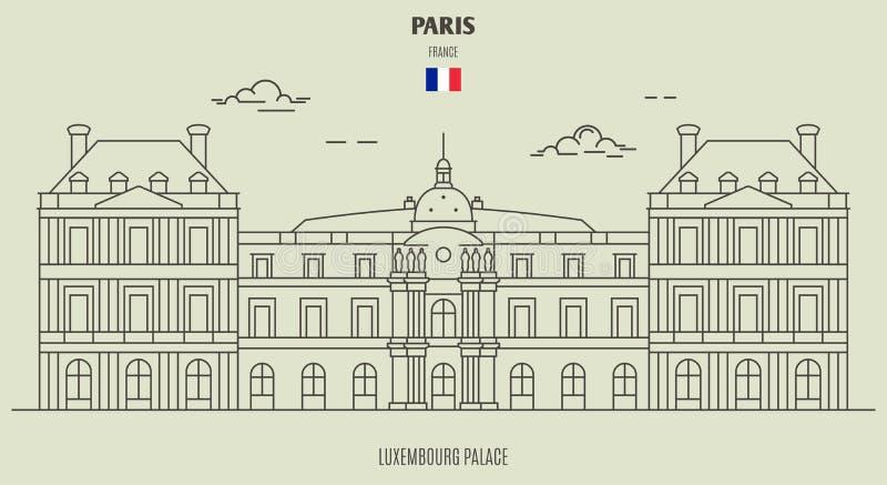 Palácio de Luxembourg em Paris, France Ícone do marco ilustração stock