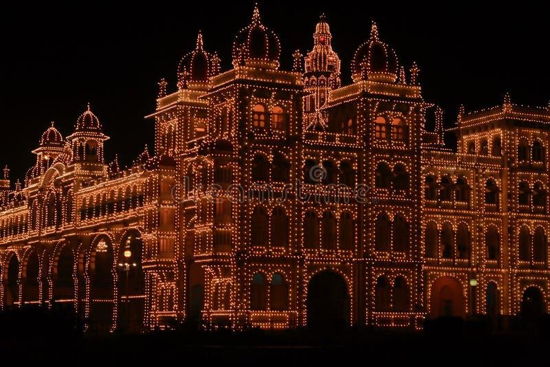 Palácio de Mysore em Escuro-IIi imagens de stock royalty free