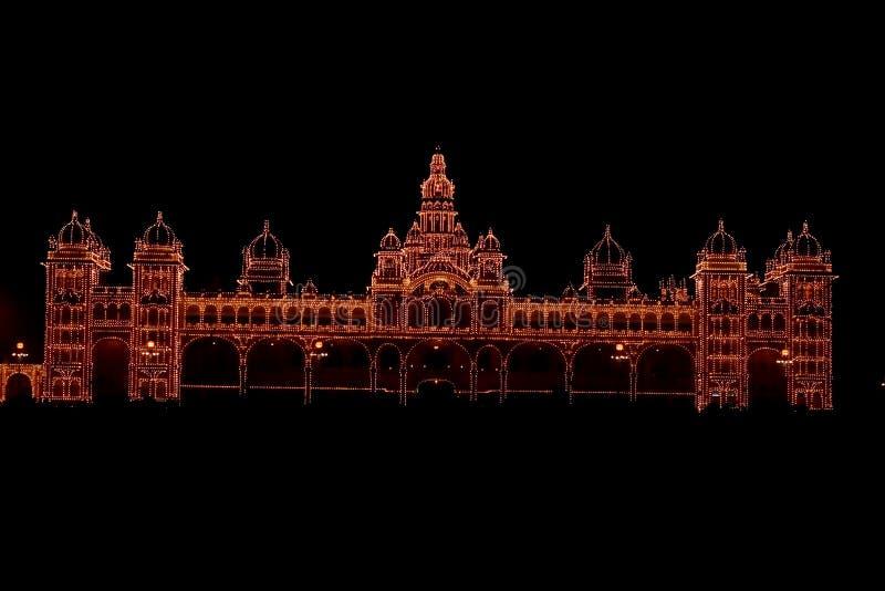Palácio de Mysore em Escuro-Xi fotografia de stock