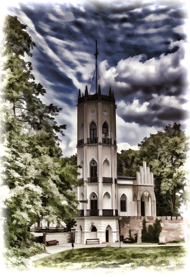 Palácio de Opinogora perto de Ciechanow no Polônia central ilustração royalty free