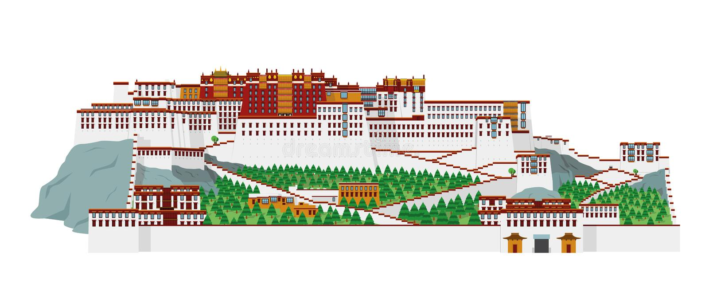 Palácio de Potala, Lasha Tibet, China Ilustração do vetor ilustração do vetor