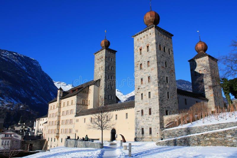 Palácio de Stockalper na prisão militar Switzerland imagem de stock