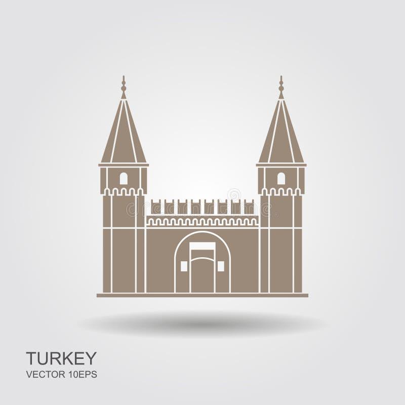 Palácio de Topkapi, porta da saudação, Istambul, Turquia Ícone liso ilustração do vetor