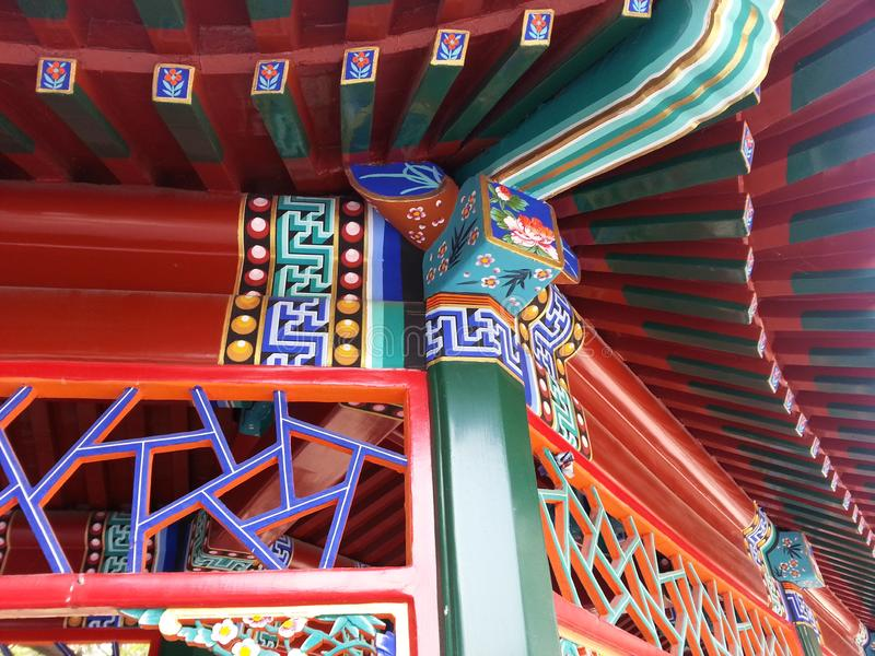 Palácio de Verao _ summer palace China. Finishing detail painting colorful and architecture stock photography