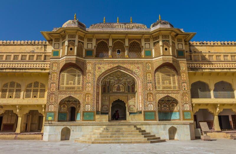 Palácio dentro do forte ambarino em Jaipur imagens de stock
