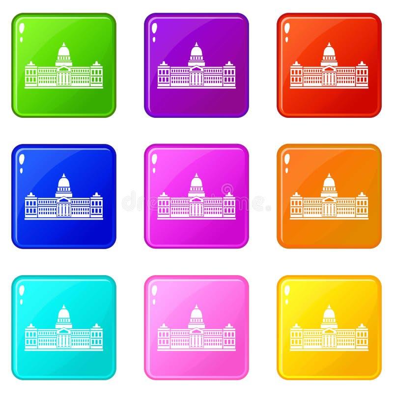 Palácio do congresso, grupo dos ícones 9 de Argentina ilustração royalty free