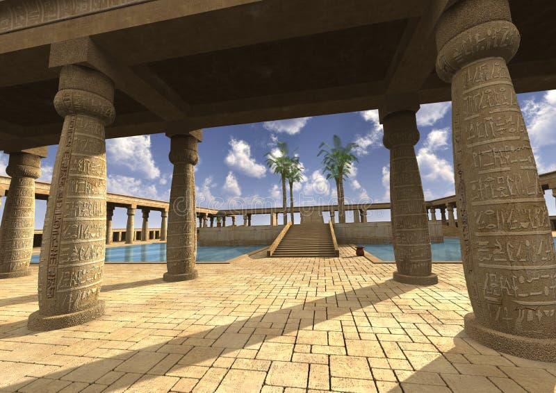 palácio do egípcio da ilustração 3D ilustração stock