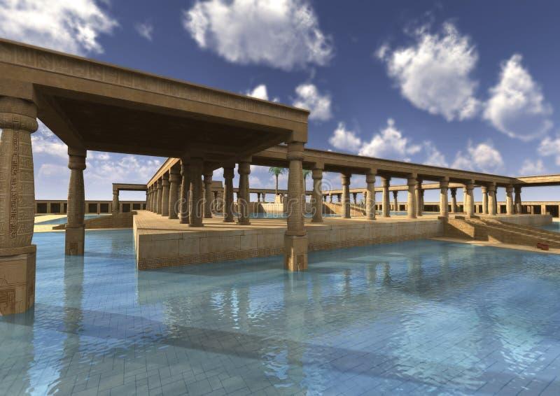 palácio do egípcio da rendição 3D ilustração royalty free