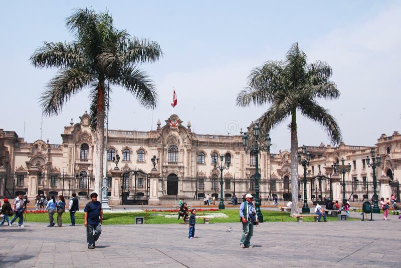 Palácio do governo em Plaza de Armas fotografia de stock royalty free