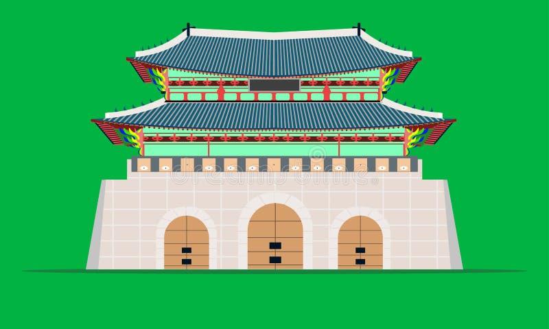 Pal?cio do gyeongbokgung da porta de Gwanghwamun na ilustra??o eps10 do vetor de Coreia do Sul de seoul ilustração stock