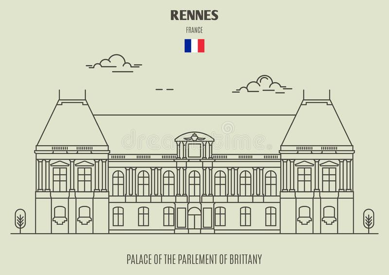 Palácio do Parlement de Brittany em Rennes, França Ícone do marco ilustração royalty free
