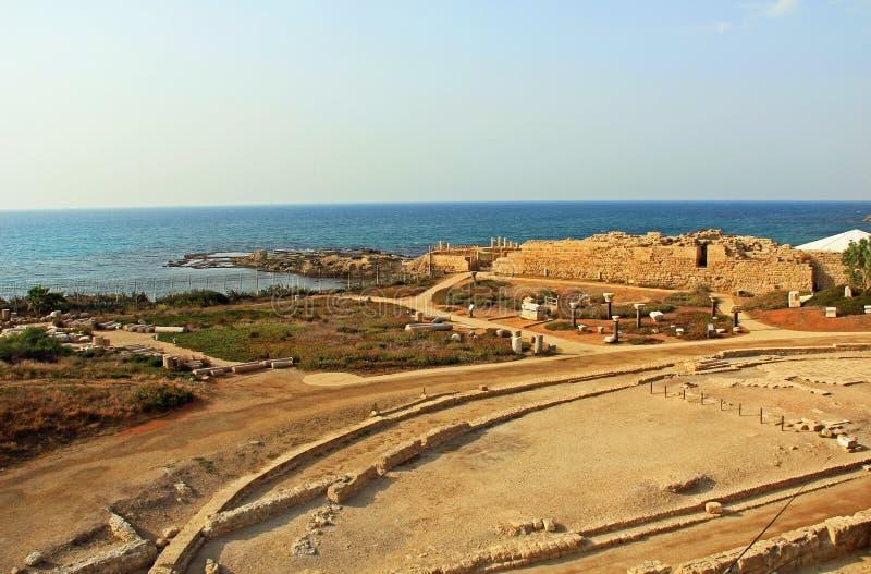 Palácio do promontório de Herods no parque nacional de Caesarea Maritima imagens de stock