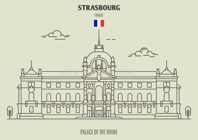 Palácio do Reno de Strasbourg, França Ícone do marco ilustração stock