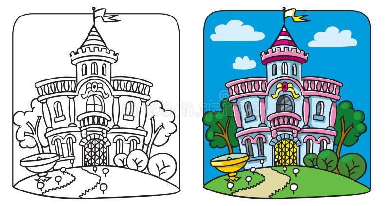 Palácio feericamente Livro de coloração ilustração royalty free
