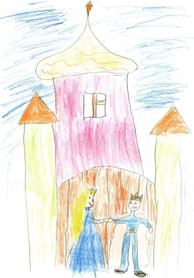Palácio mágico da pintura das crianças com rei e rainha ilustração do vetor