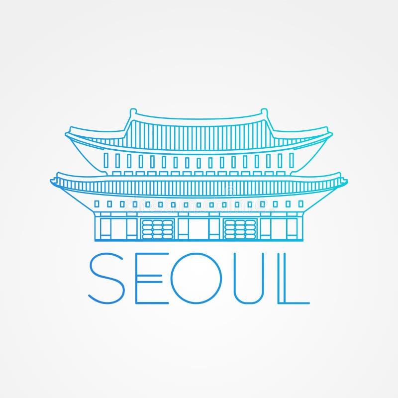 Palácio mundialmente famoso de Gwanghwamun Os grandes marcos de Ásia Símbolo moderno linear do ícone do vetor do estilo de Seoul, ilustração royalty free