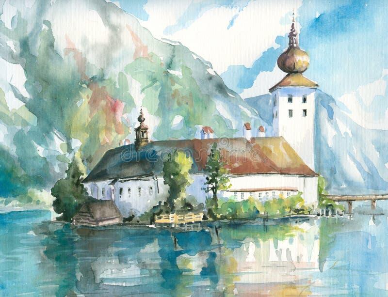 Palácio na água. ilustração royalty free