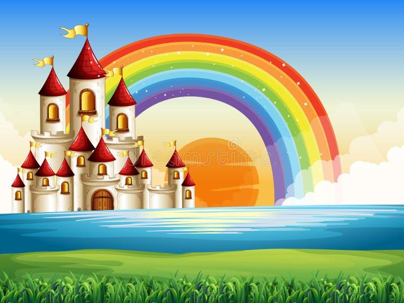 Palácio no meio do oceano ilustração royalty free