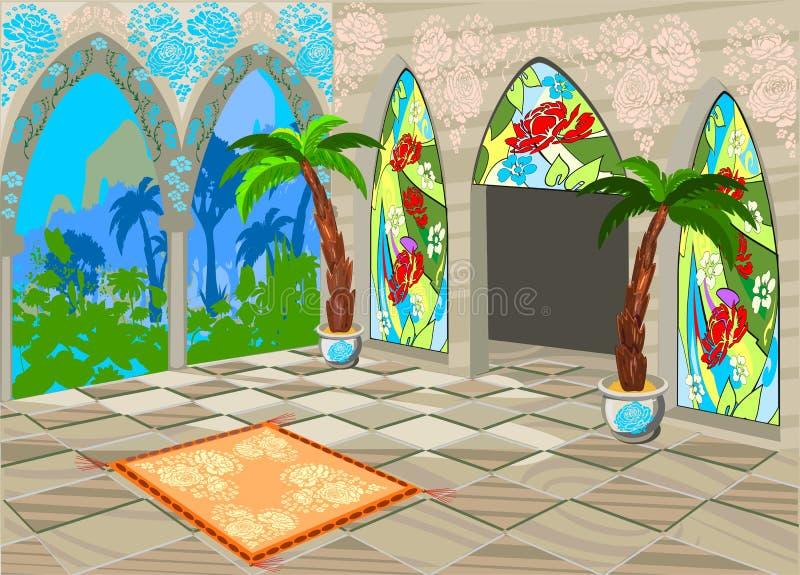 Palácio oriental interior ilustração stock