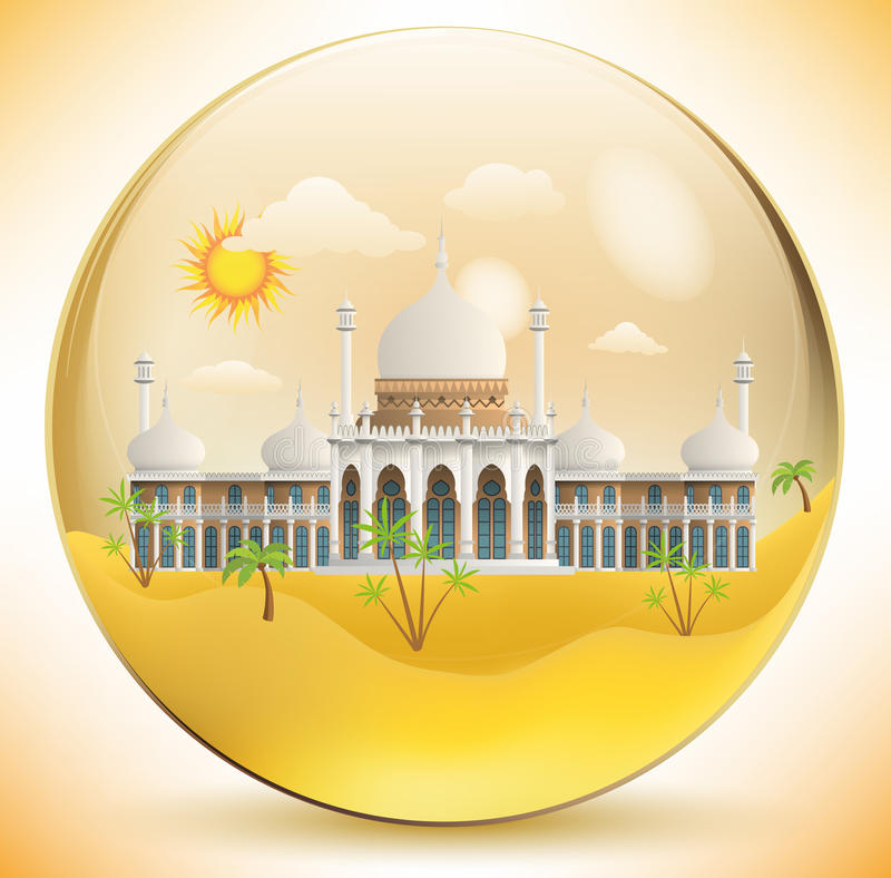 Palácio oriental na esfera de vidro ilustração do vetor