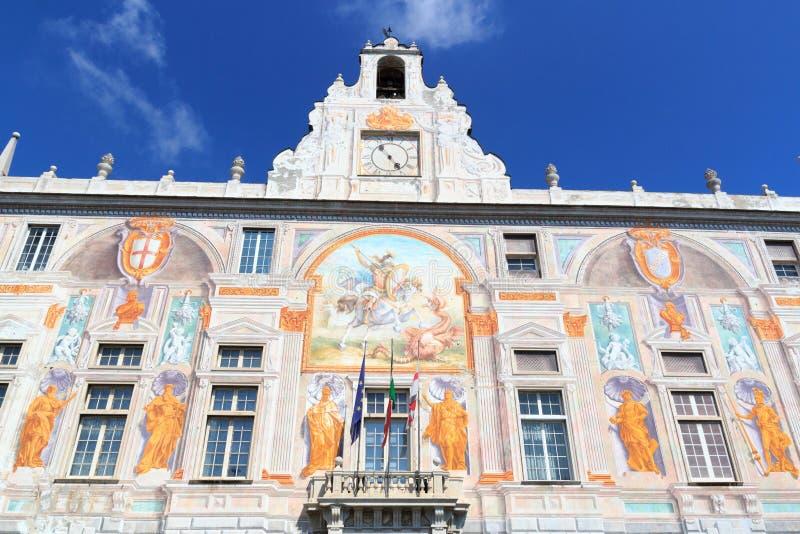 Palácio Palazzo San Giorgio perto de Porto Antico, Genoa fotografia de stock