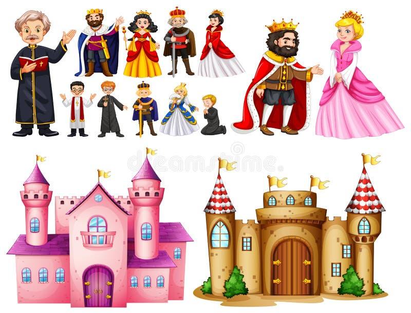 Palácio real e caráteres diferentes ilustração royalty free