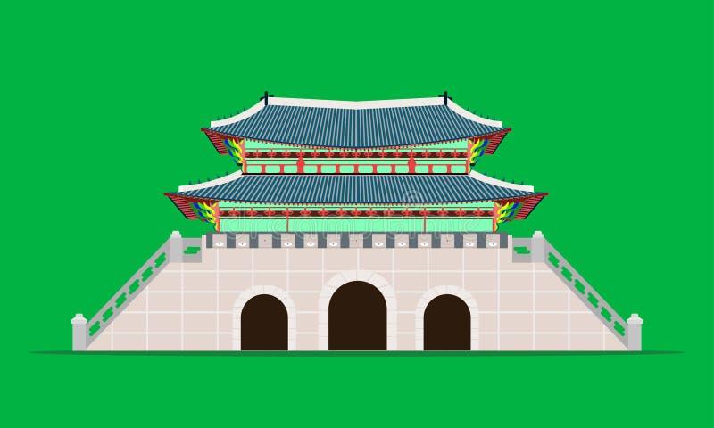 Palácio traseiro do gyeongbokgung da porta do gwanghwamun na ilustração eps10 do vetor de Coreia do Sul de seoul ilustração stock