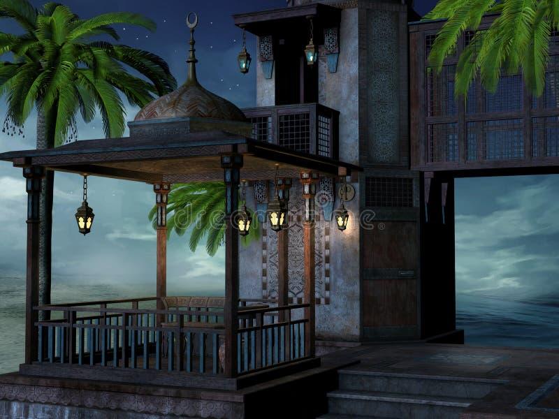 Palácio tropical na noite ilustração stock
