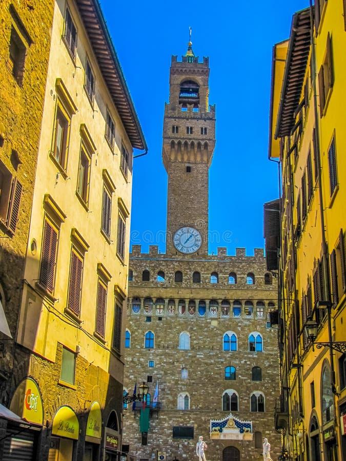 Palácio velho de Palazzo Vecchio em Florença, Itália imagens de stock