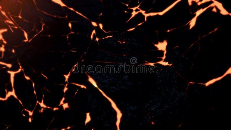 Palący, czerwona lawa z pęknięciami na kamień powierzchni, odgórny widok, bezszwowa pętla Abstrakcjonistyczny ciekły magmy chodze royalty ilustracja