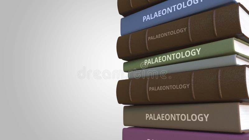 PALÄONTOLOGIE-Titel auf dem Stapel von Büchern, Begriffs-Wiedergabe 3D stock abbildung