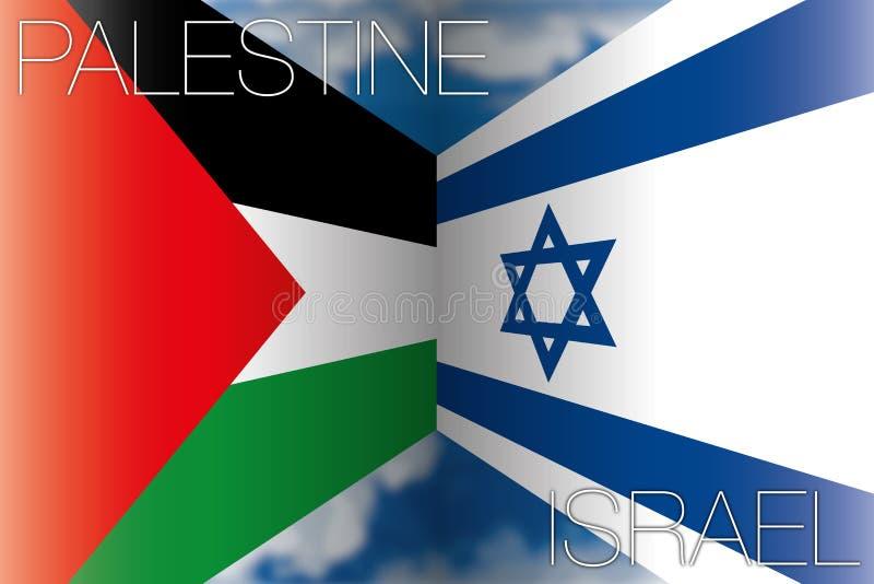 Palästina gegen Israel-Flaggen stock abbildung