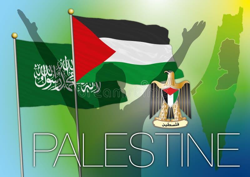 Palästina- u. Hamas-Flagge, Karte und Wappen lizenzfreie abbildung