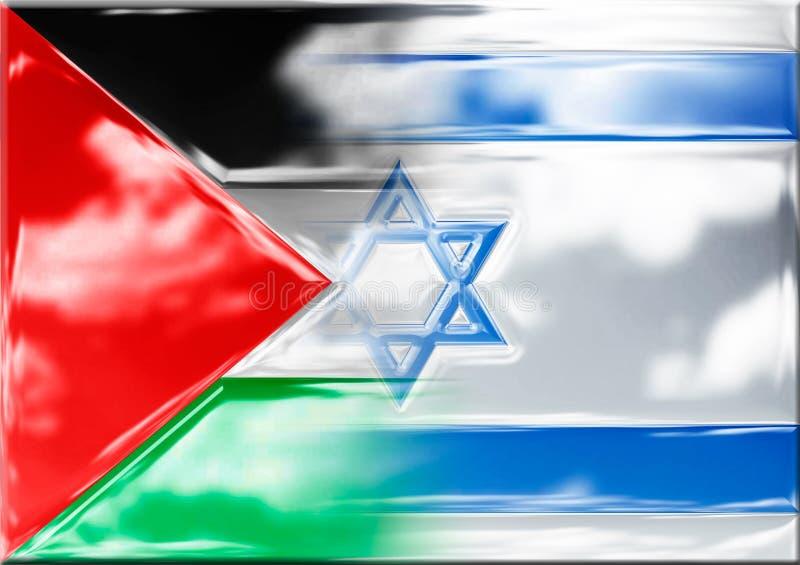 Palästina und Israel metallisierte Flaggen vektor abbildung