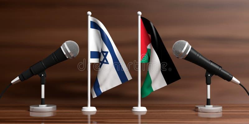 Palästina- und Israel-Miniaturflaggen Kabelmikrophone, hölzerner Hintergrund, Fahne Abbildung 3D vektor abbildung