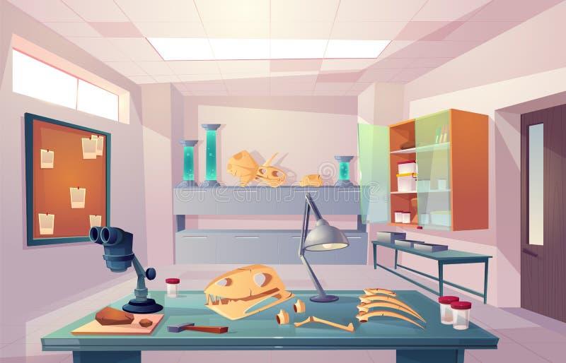 Paléontologie, vecteur de bande dessinée de laboratoire de la génétique d'université illustration stock