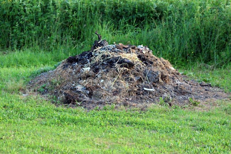 Palący komposta stos zakrywający z suchymi roślinami przy lokalnym polem otaczającym z rżniętą i uncut trawą zdjęcie stock