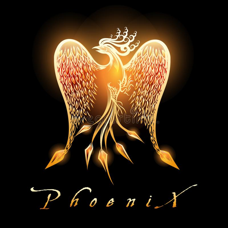 Palący Phoenix Ptasi na Czarnym tle royalty ilustracja