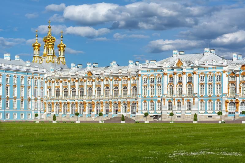 Pal?cio de Catherine em Tsarskoe Selo, Pushkin, St Petersburg, R?ssia imagens de stock royalty free