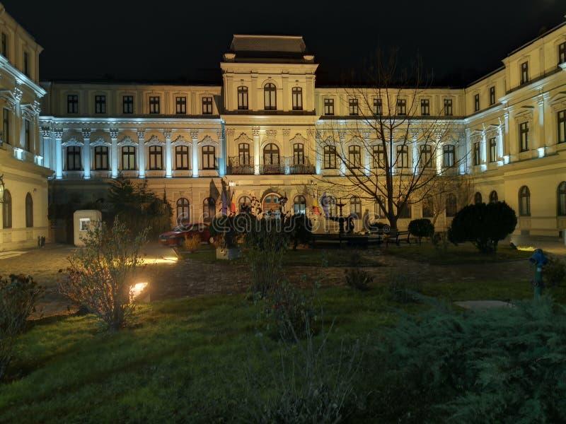 Pal?cio de Romanit - o Museu Nacional de Art Collections - Bucareste, Rom?nia - na noite imagem de stock royalty free