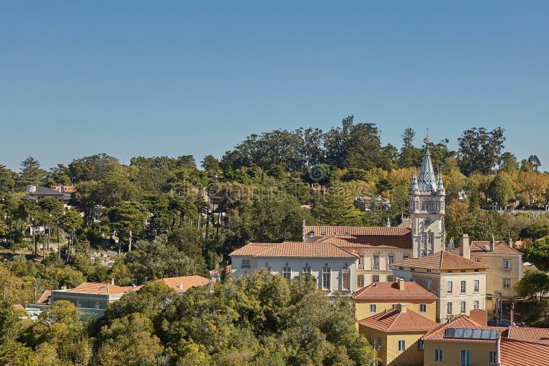 Pal?cio de Sintra Palacio Nacional de Sintra em Sintra Portugal durante um dia de ver?o bonito foto de stock royalty free
