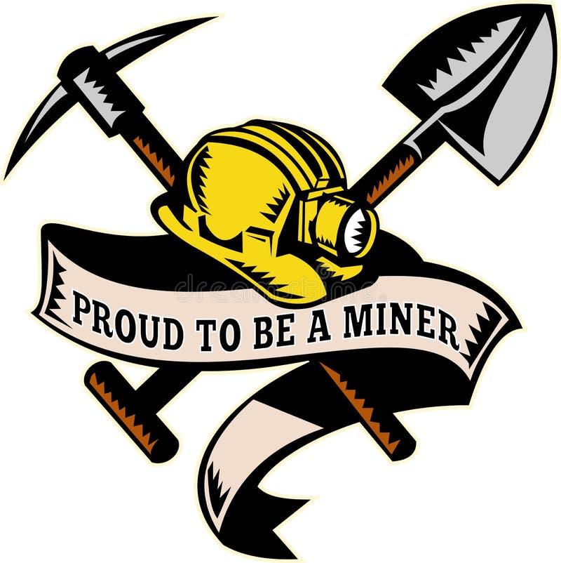Pala del cappello dell'elmetto protettivo del minatore delle miniere di carbone illustrazione di stock
