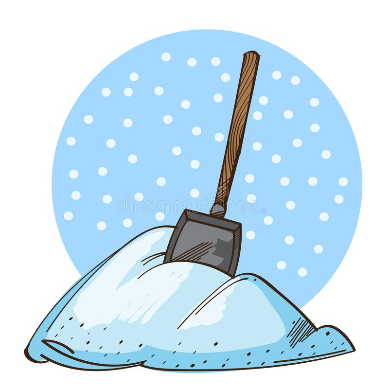 Pala del vector en una pila de nieve aislada en el fondo blanco libre illustration
