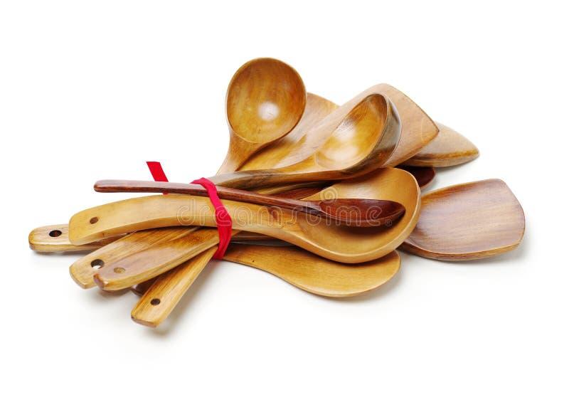 Pala e cucchiaio di legno della cucina fotografia stock