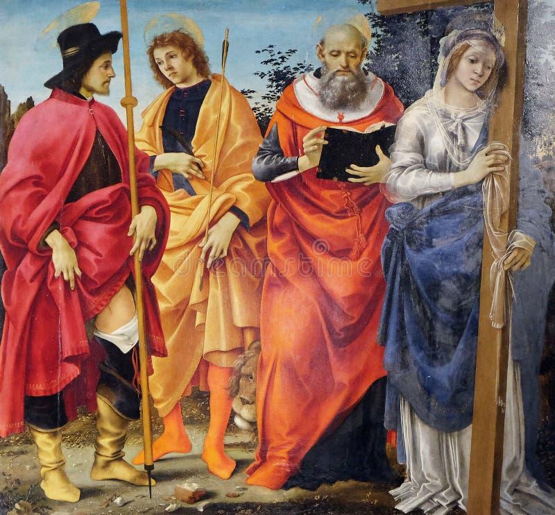 Pala Magrini Filippino Lippi представляя Святых Roch, Sebastian, Джерома и Helena стоковое фото rf